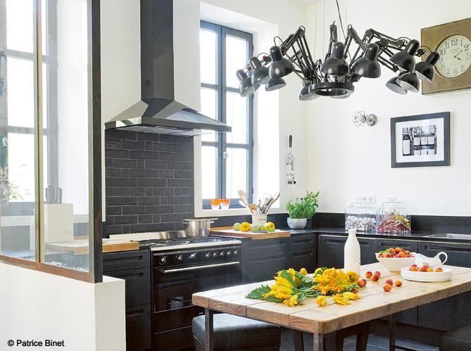 10 cuisines pour recevoir elle d coration - Verriere industrielle cuisine ...