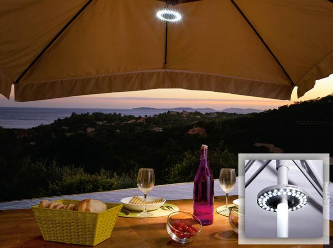 Eclairage table de jardin elle d coration for Portent un parasol dans les jardins