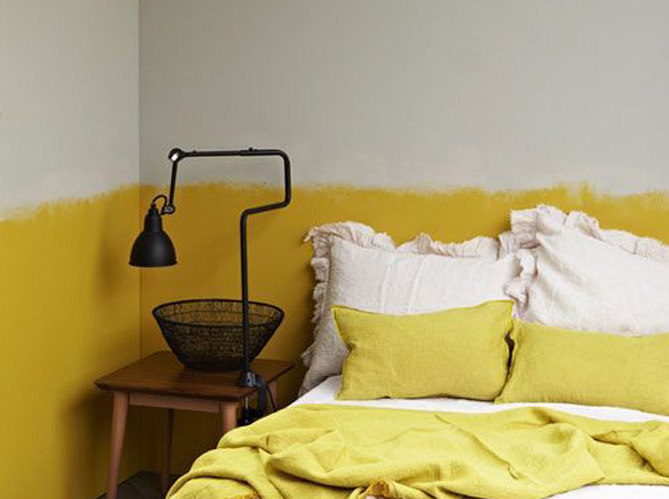 Chambre mur jaune moutarde for Chambre bebe jaune moutarde