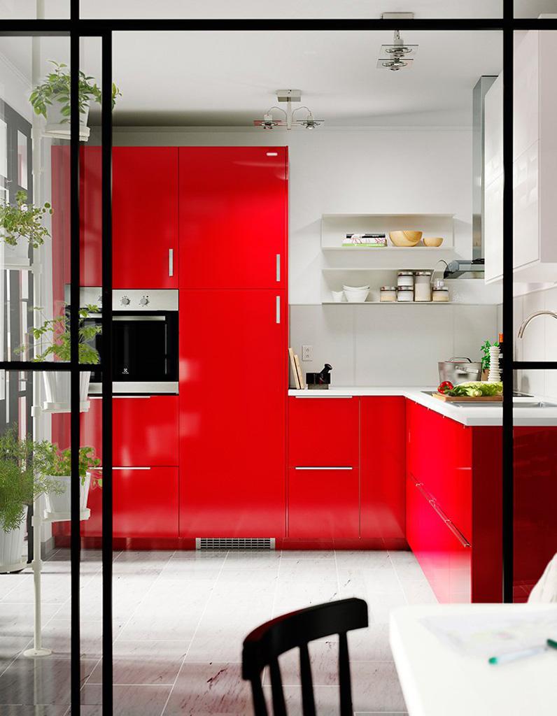 decoration maison cuisine rouge. Black Bedroom Furniture Sets. Home Design Ideas