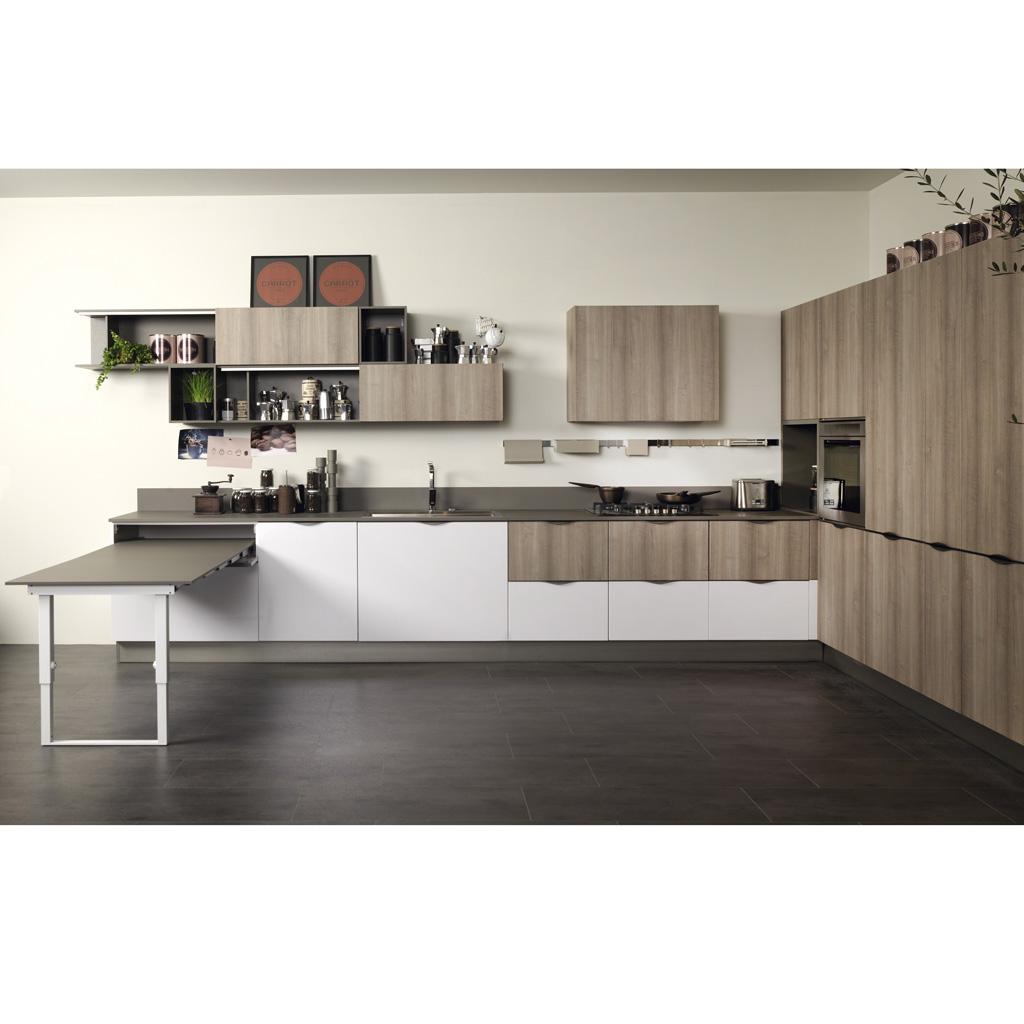 Cuisine bois et blanc laqu agrandir une cuisine design for Fonction meuble chilly mazarin