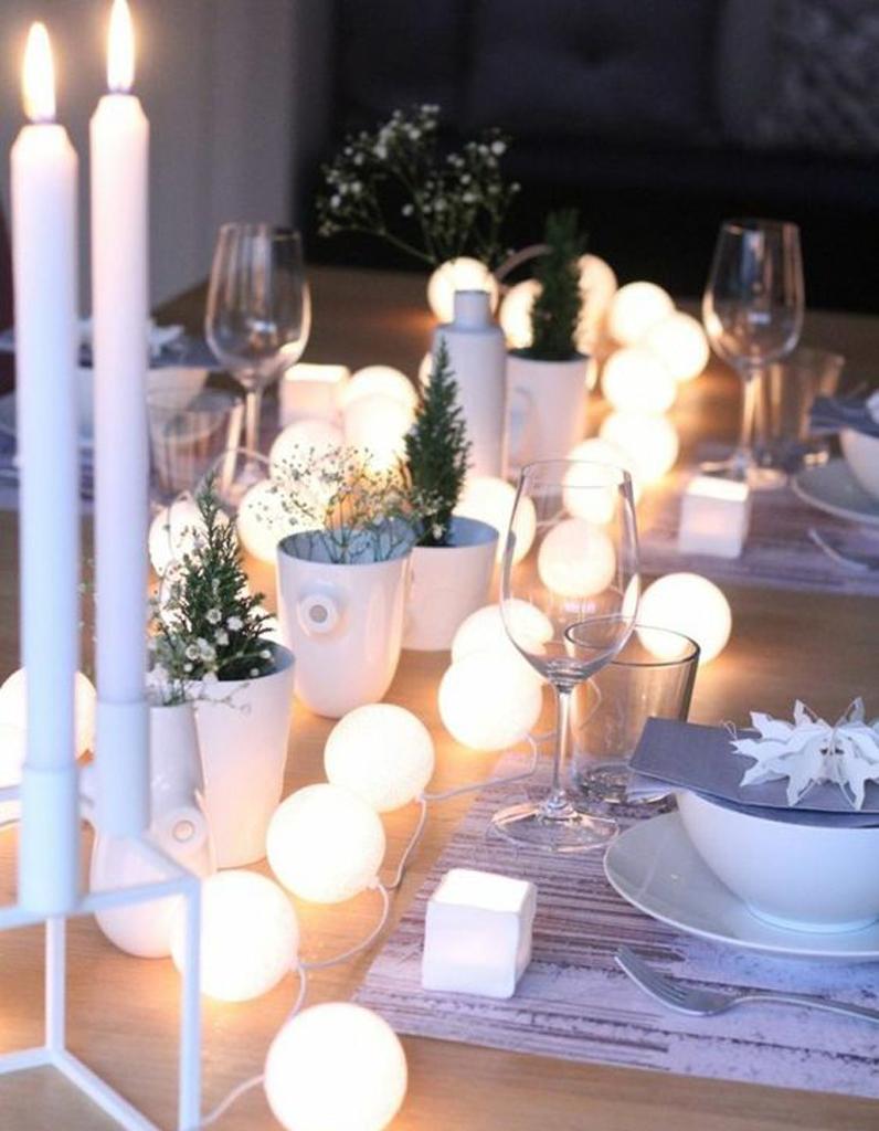 D coration de table d 39 hiver nos meilleures id es de d co - Chemin de table lumineux ...