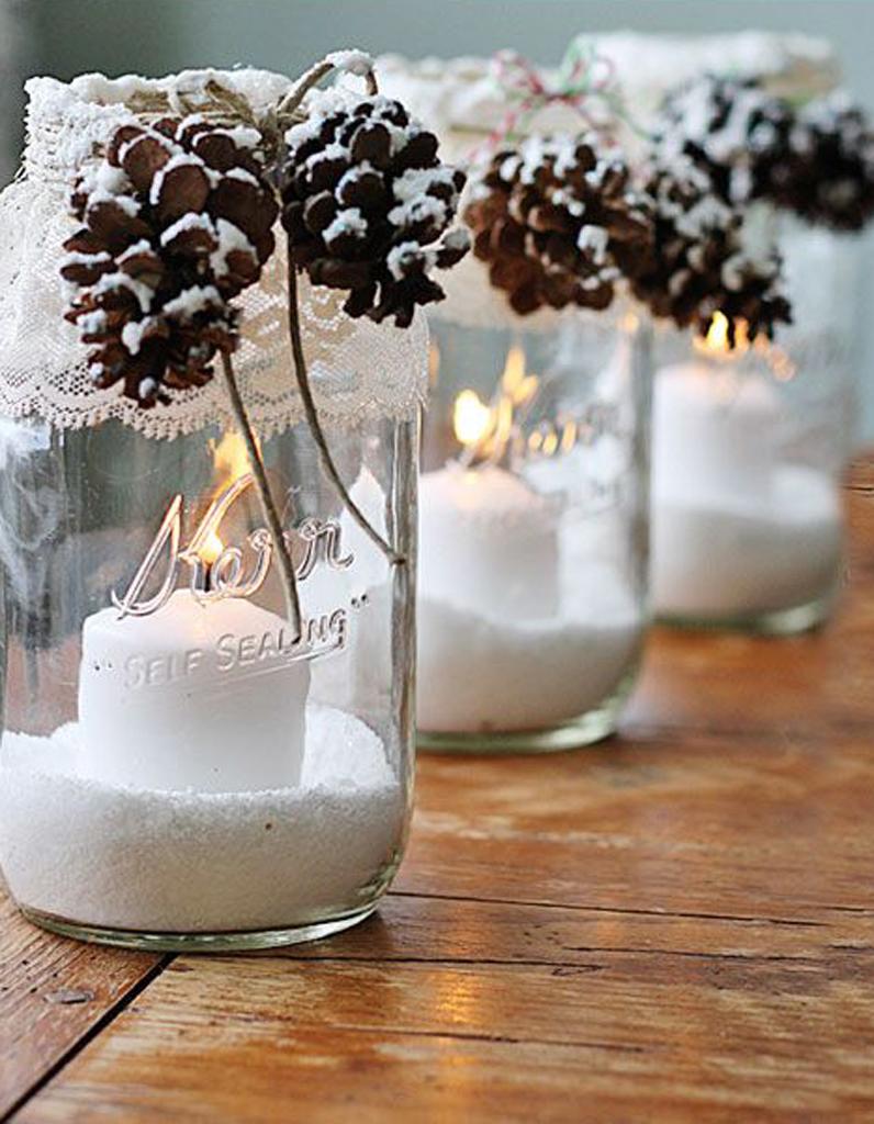 Décoration de table hiver  pensez des bocaux comme des boules à neige  lumineuses
