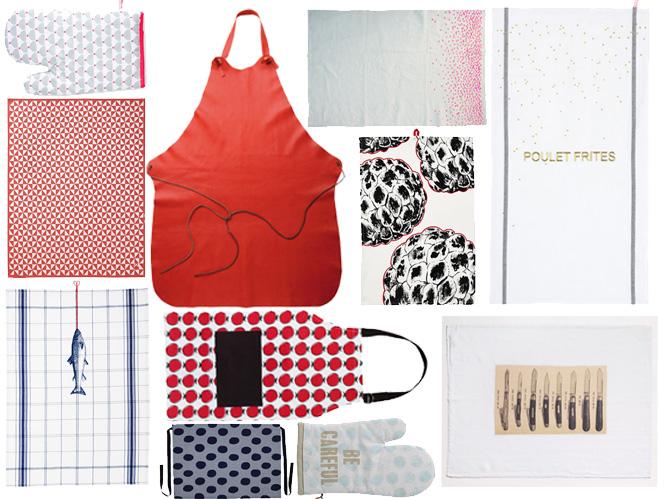 torchons tabliers gants ils font le show en cuisine elle d coration. Black Bedroom Furniture Sets. Home Design Ideas