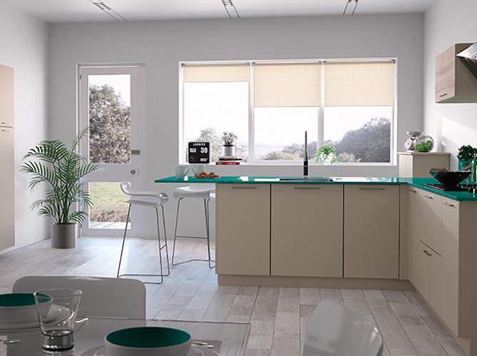 Decoration Cuisine Campagne : Une cuisine design grâce au plan de travail coloré