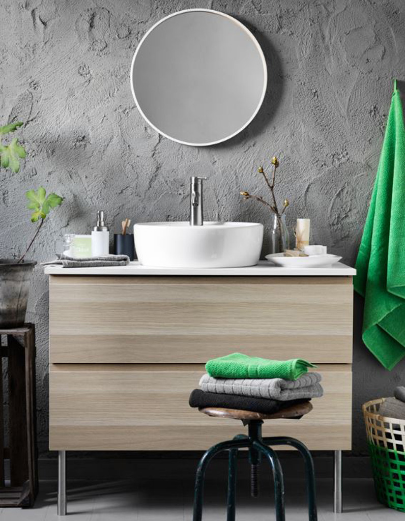 15 salles de bains grises elle d coration for Effet beton salle de bain