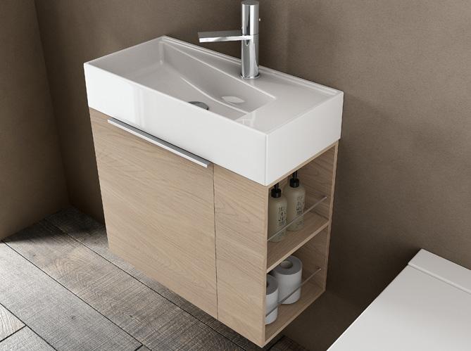 40 meubles pour une petite salle de bains elle d coration for Petit meuble suspendu salle de bain