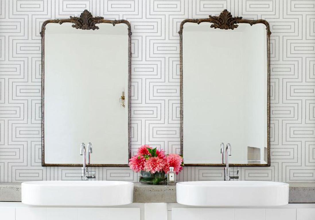 j 39 ose le papier peint dans ma salle de bains elle d coration. Black Bedroom Furniture Sets. Home Design Ideas
