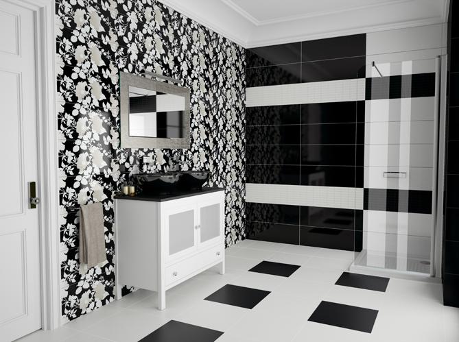 La salle de bains s 39 habille en noir et blanc elle d coration for Carrelage salle de bain couleur noir