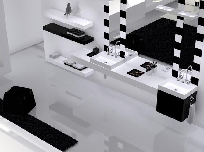La salle de bains s 39 habille en noir et blanc elle d coration - Carrelage ancien noir et blanc ...