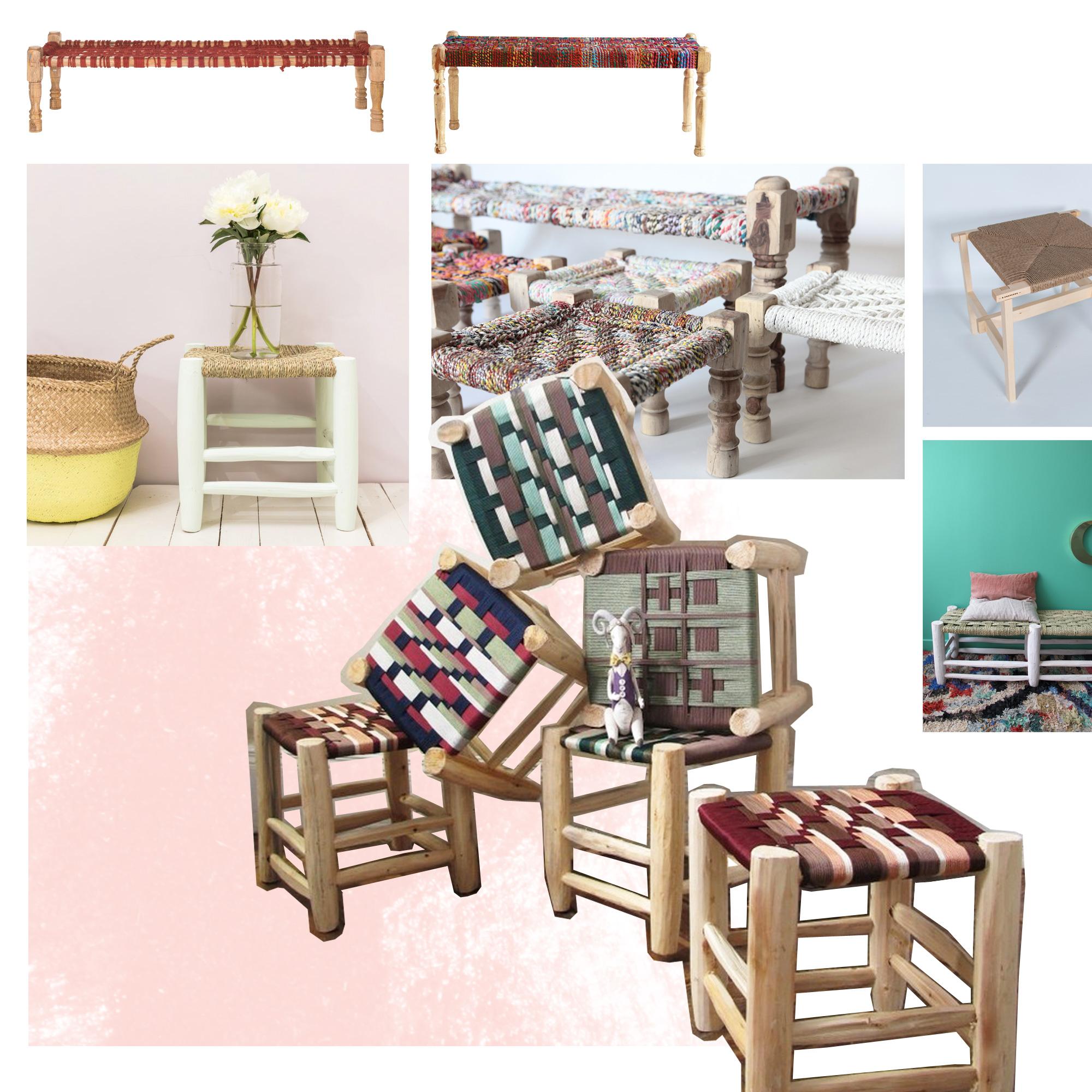 banc tress le banc et le tabouret tress s la touche ethnique qu 39 il nous faut elle d coration. Black Bedroom Furniture Sets. Home Design Ideas