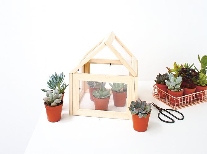 diy fabriquez une mini serre partir de cadres elle d coration. Black Bedroom Furniture Sets. Home Design Ideas