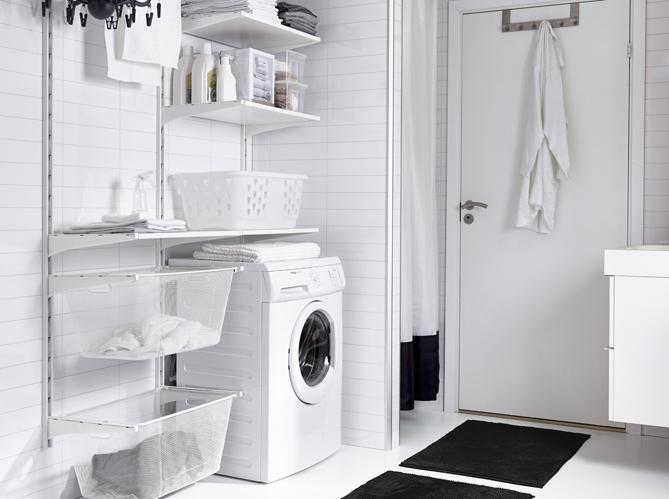 cacher machine a laver dans salle de bain