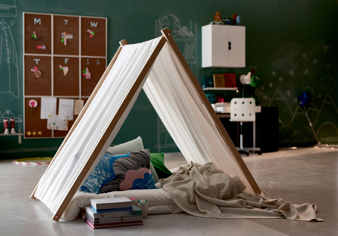 diy un tipi pour enfant elle d coration. Black Bedroom Furniture Sets. Home Design Ideas