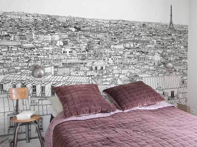 un papier peint noir et blanc pour un mur l gant elle d coration. Black Bedroom Furniture Sets. Home Design Ideas