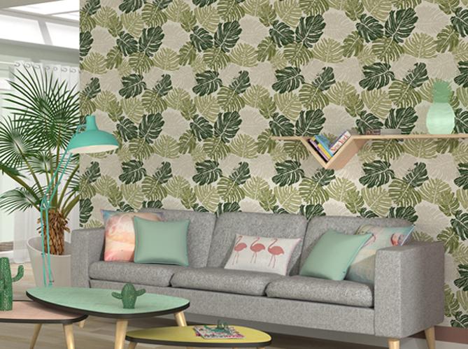 la tendance du jour le papier peint tropical elle. Black Bedroom Furniture Sets. Home Design Ideas
