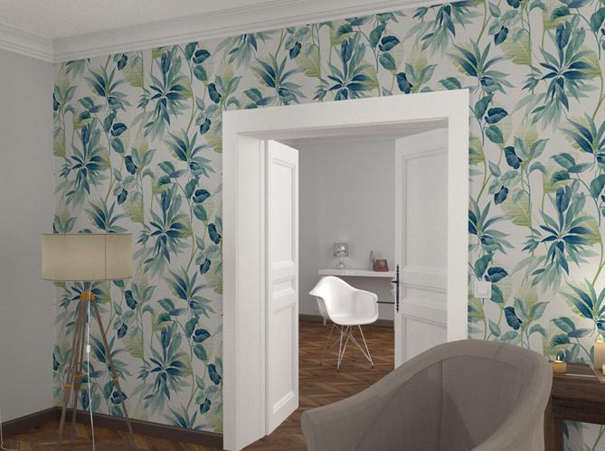 la tendance du jour le papier peint tropical elle d coration. Black Bedroom Furniture Sets. Home Design Ideas