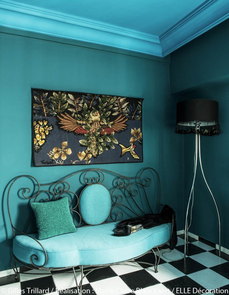 Peindre murs en bleu et vert dans appartement sympa l for Peindre fer forge