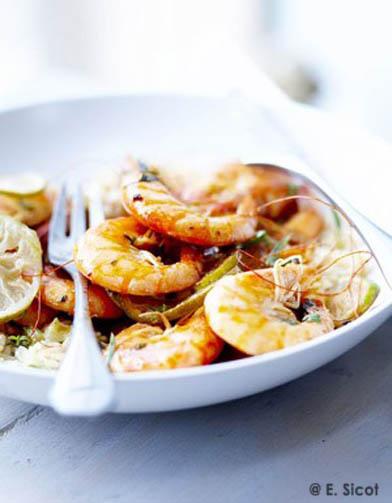 Crevettes grill es riz au lait de coco des id es recettes pour le r veillon des enfants - Riz au lait de coco ...