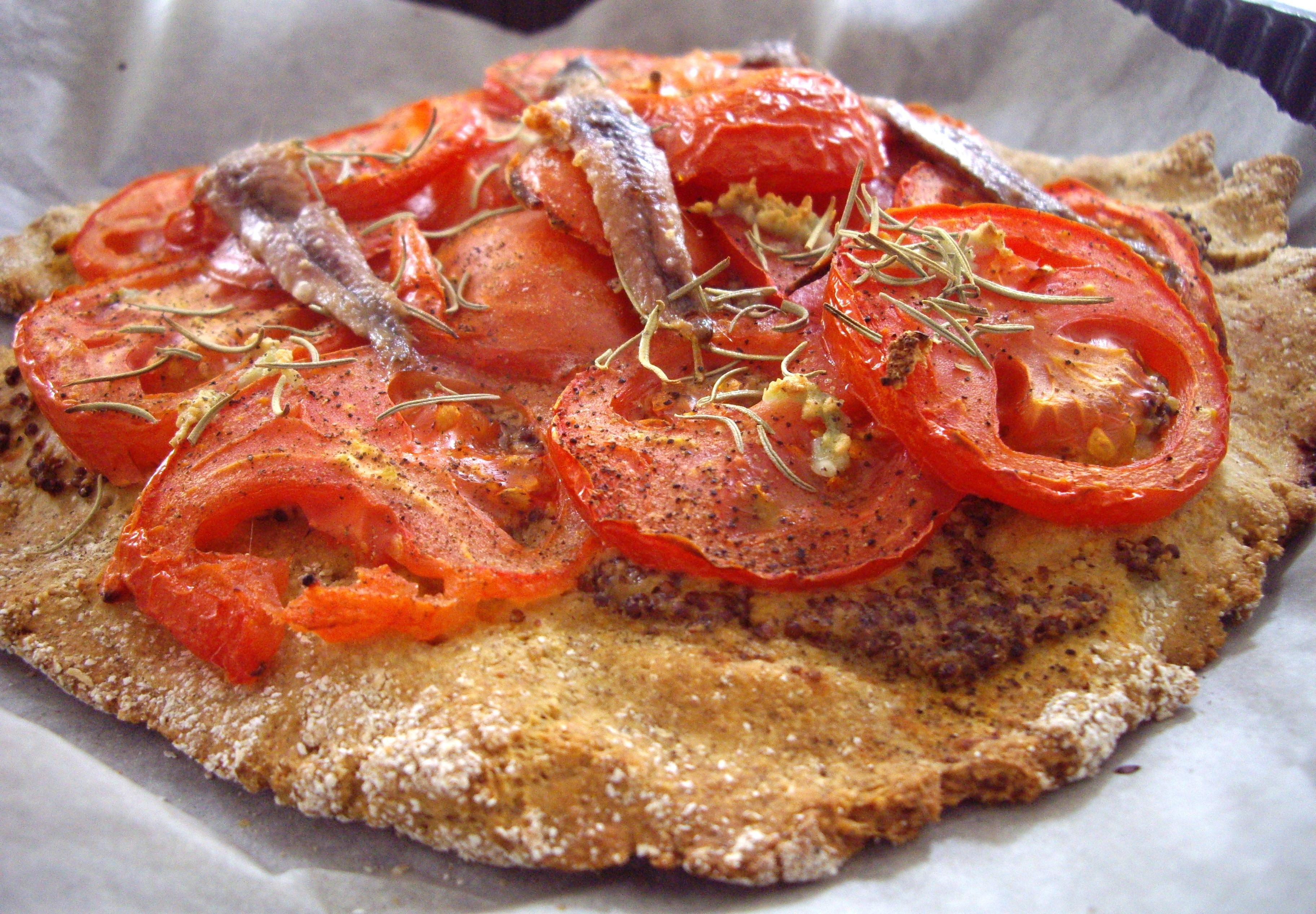 tarte avoine kamut la tomate et aux anchois pour 2 personnes recettes elle table. Black Bedroom Furniture Sets. Home Design Ideas