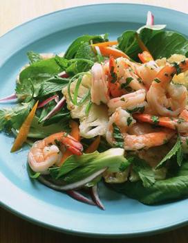Petite salade de m che crevettes roses et vinaigrette aux agrumes pour 4 personnes recettes - Petite recette de cuisine ...