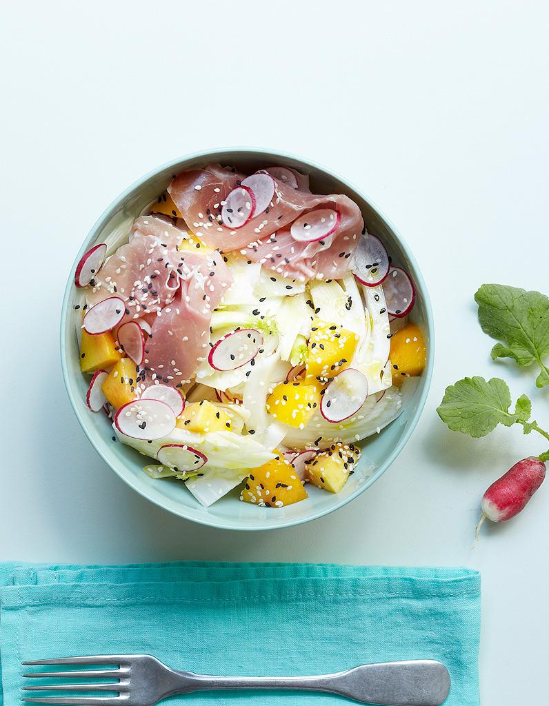 Salade fenouil p che jambon cru pour 4 personnes - Cuisine minceur rapide ...