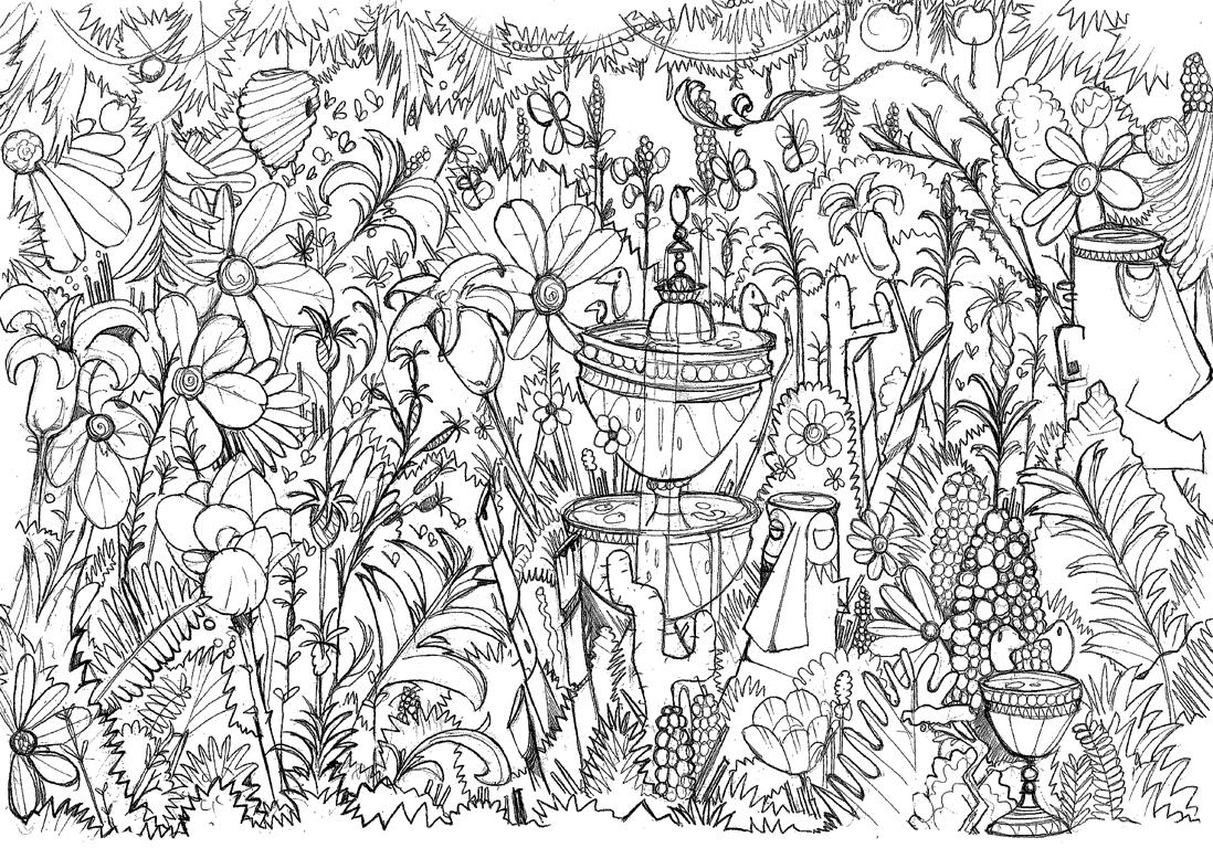 Moncoloriageelle le jardin fleuri elle for Jardin dessin