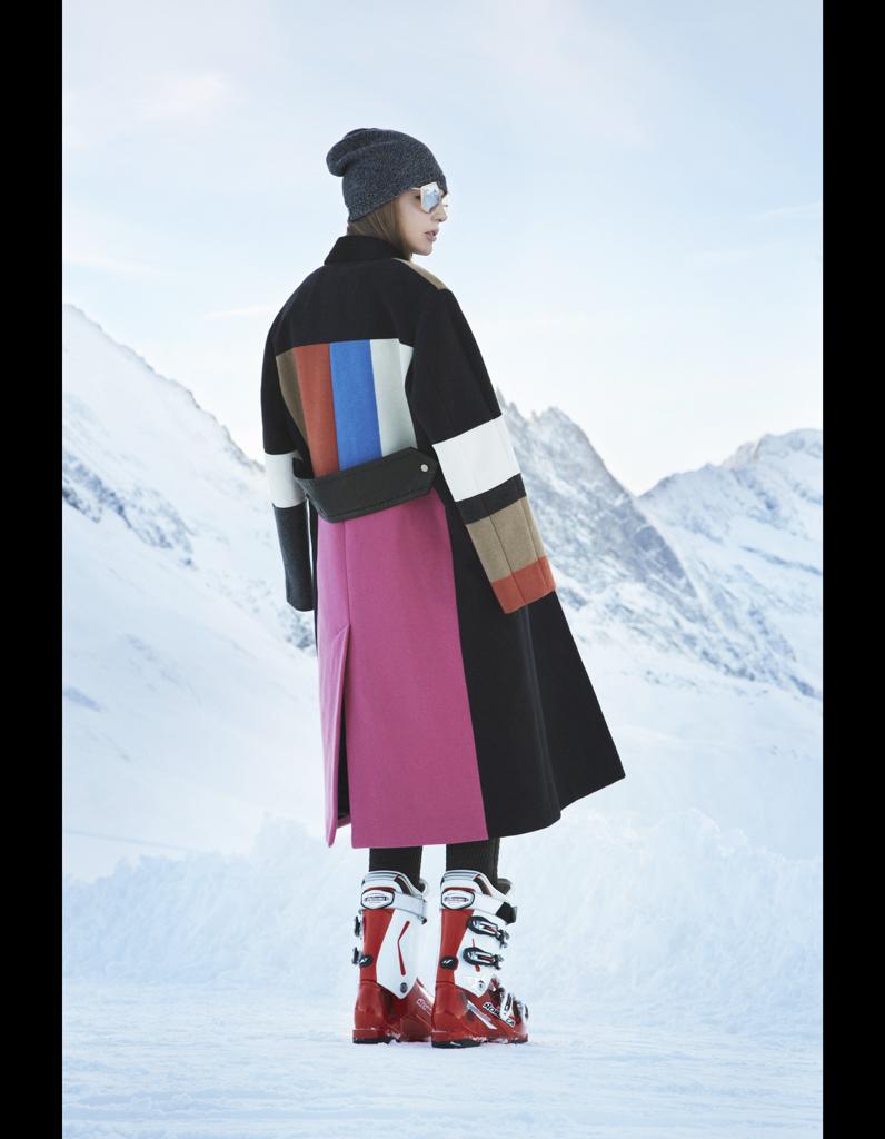 manteau en laine multicolore c line en mode classe de neige elle. Black Bedroom Furniture Sets. Home Design Ideas