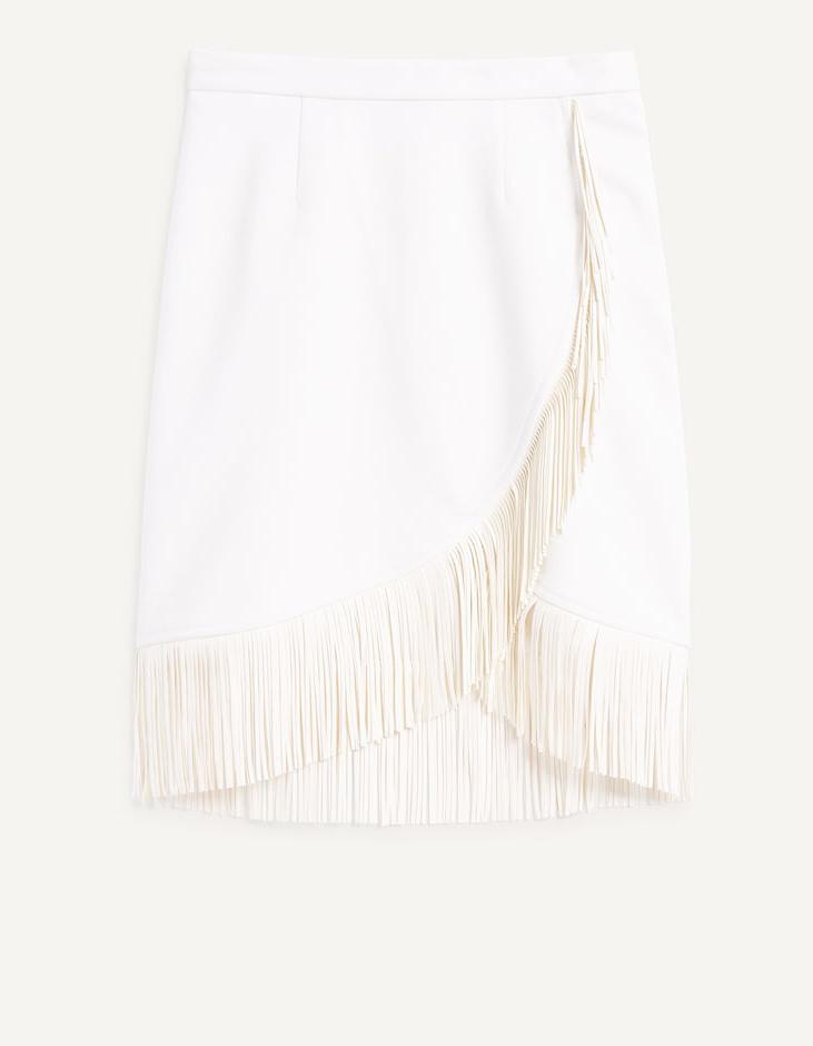 jupe blanche franges maje 20 jupes blanches pour amorcer l 39 t elle. Black Bedroom Furniture Sets. Home Design Ideas
