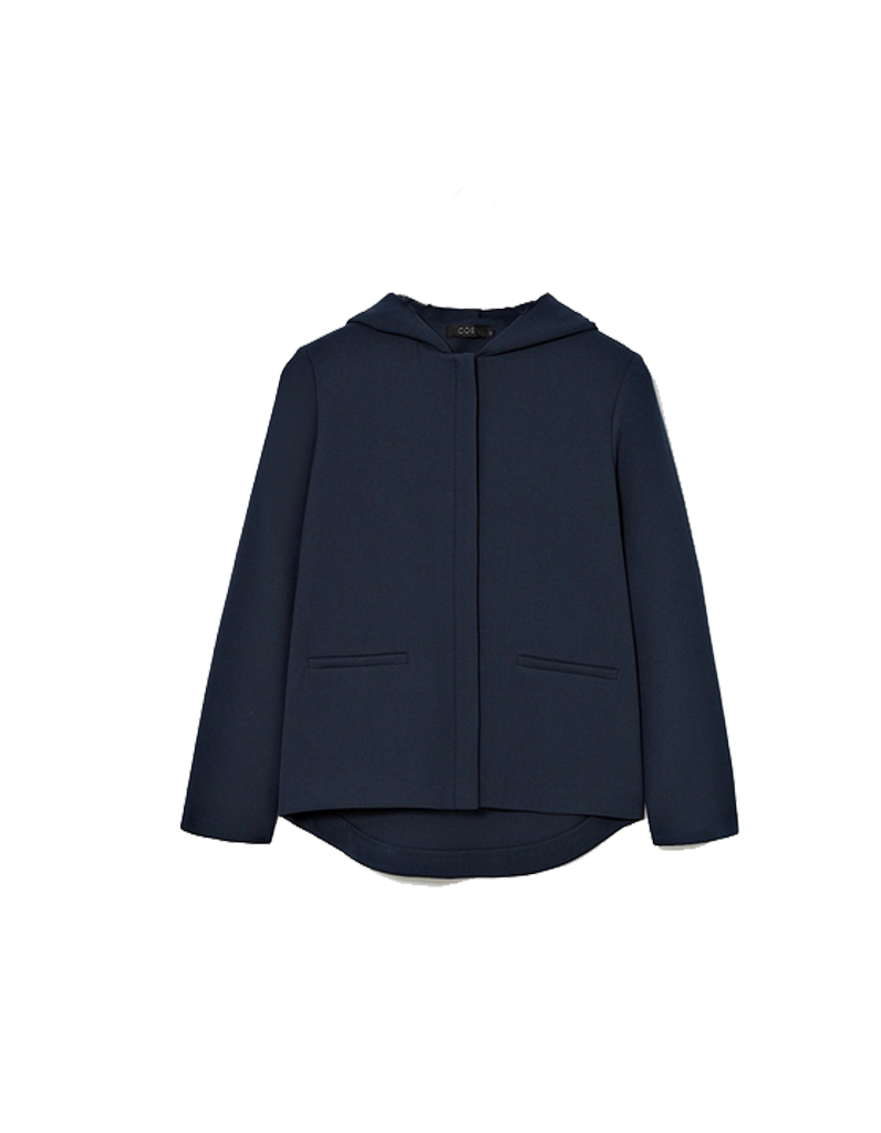 Manteau a capuche femme bleu marine