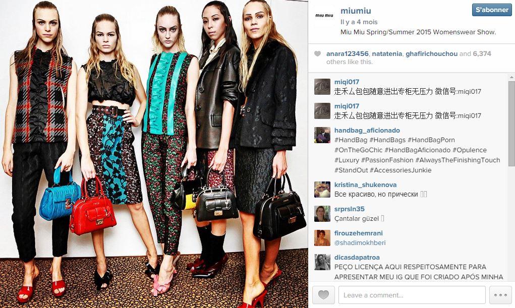 Miu miu les 101 comptes instagram suivre pendant la fashion week elle - Qui suivre sur instagram ...
