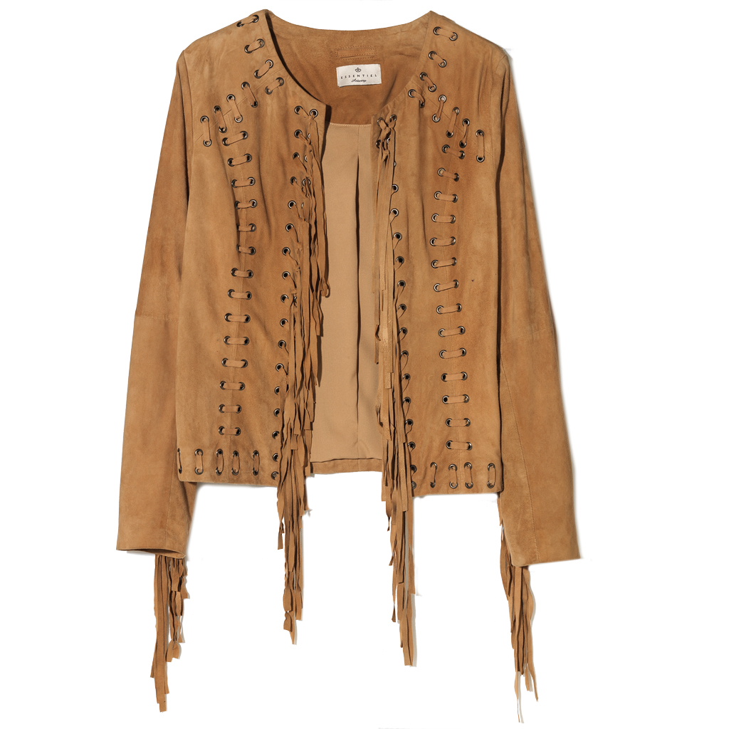 veste franges camel essentiel une veste franges pour jouer la cow girl elle. Black Bedroom Furniture Sets. Home Design Ideas